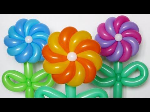 Крученая ромашка 10 лепестков / Twisted Daisy Of Balloons (Subtitles)