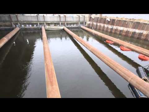 Crossrail time lapse - Royal Docks drained for Crossrail works