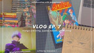 vlog ep. 7 —;  manga unboxing, watching jujutsu kaisen, & sketching ! [ ft. mangatama ]