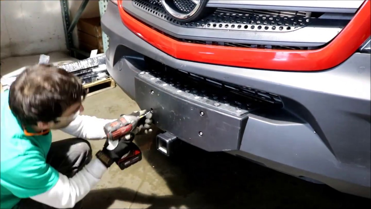 Mercedes Sprinter Front Receiver Hitch install - YouTube