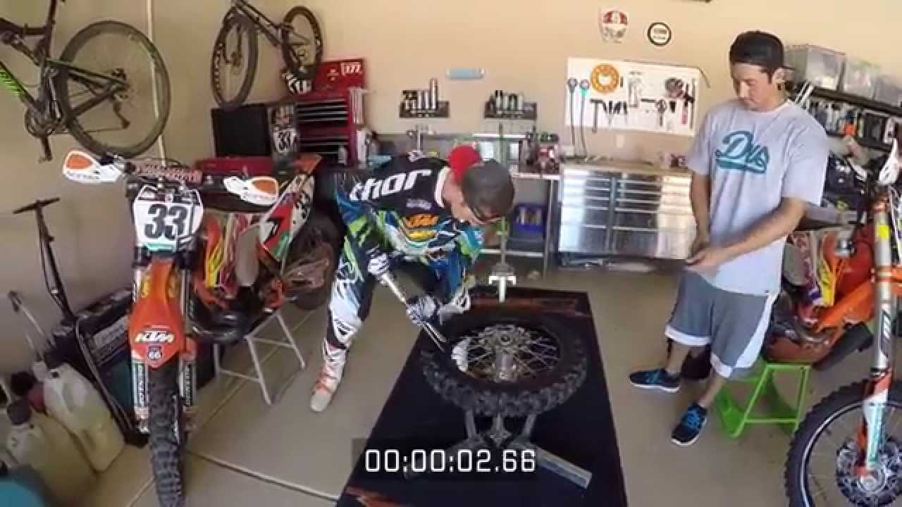 Taylor Robert Changing A Dirt Bike Tire In Less Than A Minute And