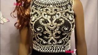 Платье стрейч с шлейфом расшитое бисером и стразами