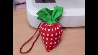How to make a foldable strawberry shopping bag