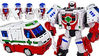 Hello Carbot Medient transforms into ambulance and 6 Carbot crew! Go! | DuDuPopTOY