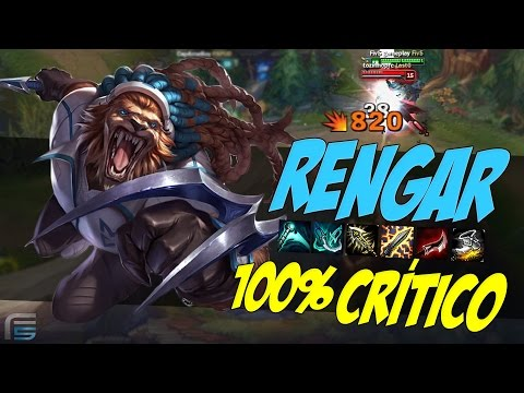 RENGAR 100% CRÍTICO JUNGLER - DELETANDO ALVOS ! - League of Legends - [ PT-BR ]
