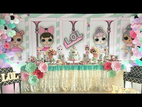 Fiesta de lol surprise party mesa de dulces decoracion for Decoracion de pared para quinceanera
