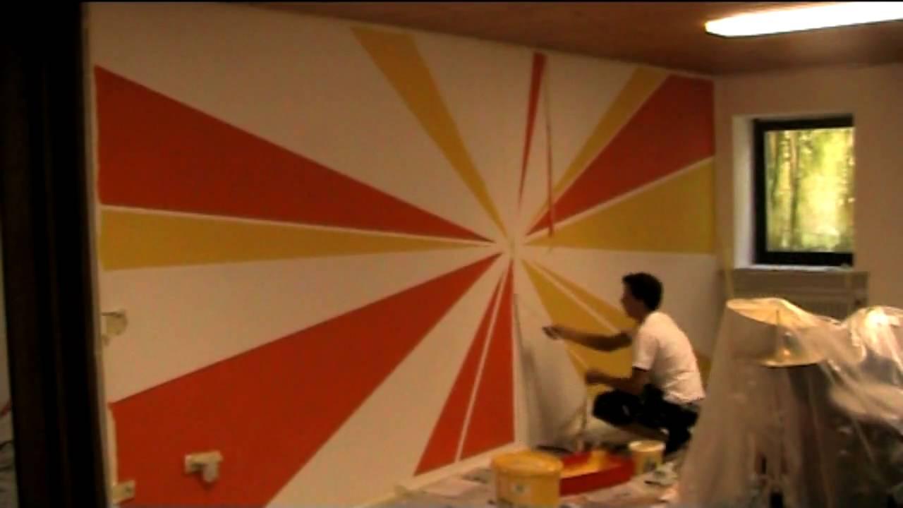 Strahlen design wandgestaltung youtube - Wandgestaltung muster ...
