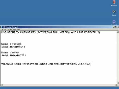 license key for usb disk security