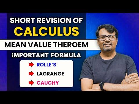 Calculus | Mean Value Theorem |  Important Formulae | Rolles, Lagrange & Cauchy