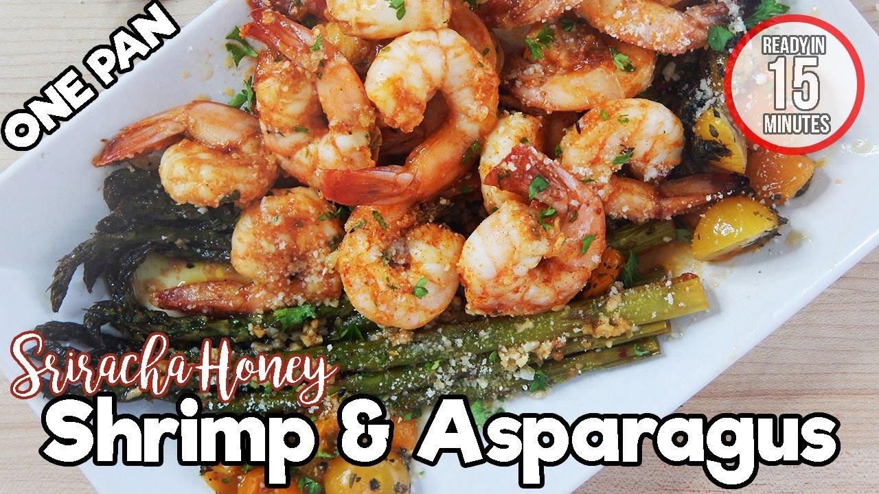 Sriracha Honey Shrimp & Asparagus | The Starving Chef ...