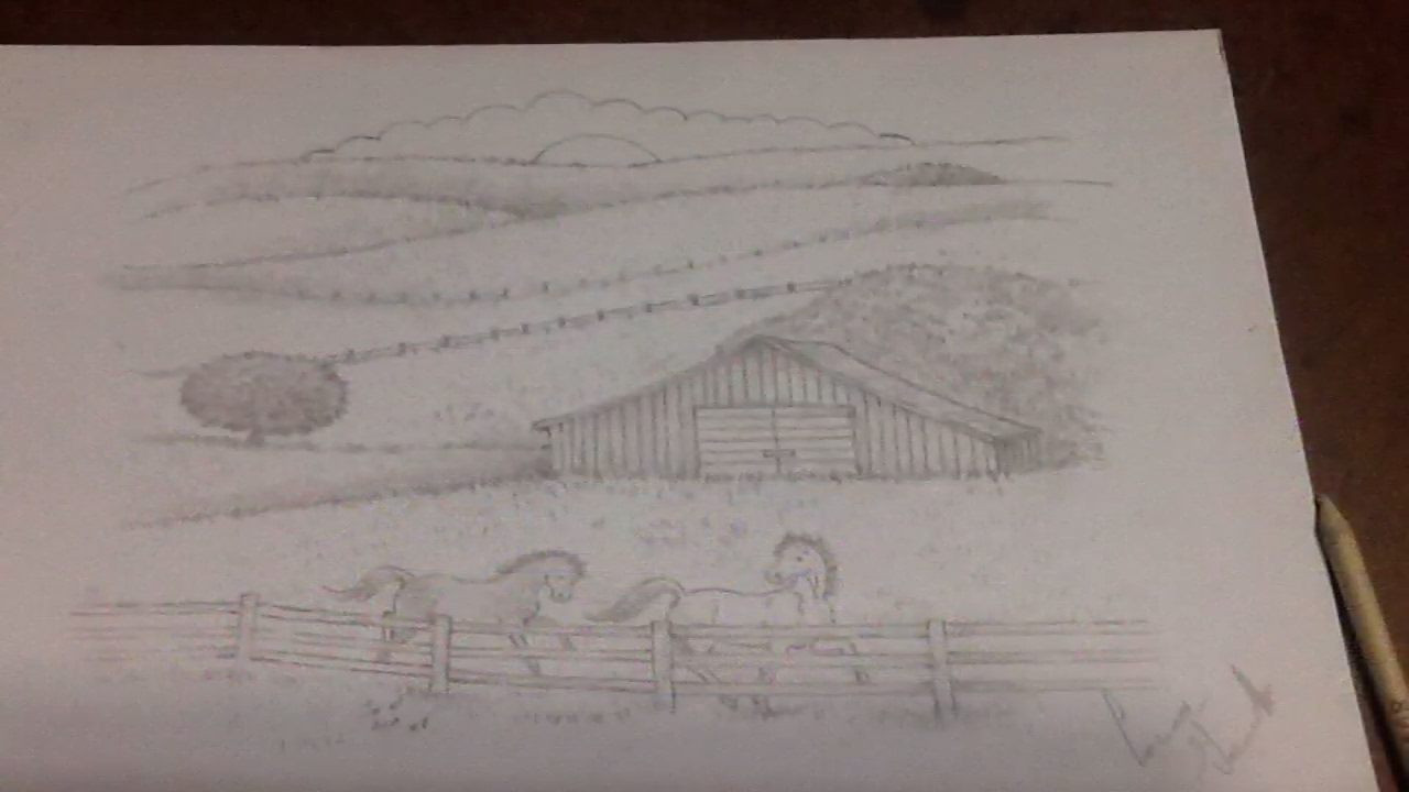 how to draw a barn with animals