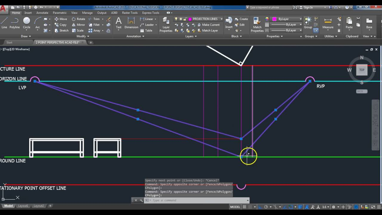 AUTOCAD SCALED 2 PT PERSPECTIVE DRAWING OF A TABLE YouTube