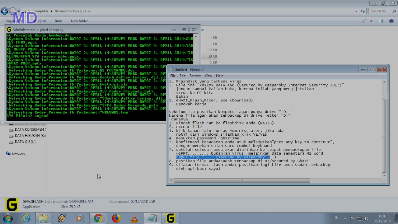 Cara Menghapus Virus Kaspersky Dari Flashdisk Backup Data Sebelum Format Flahsdisk Youtube