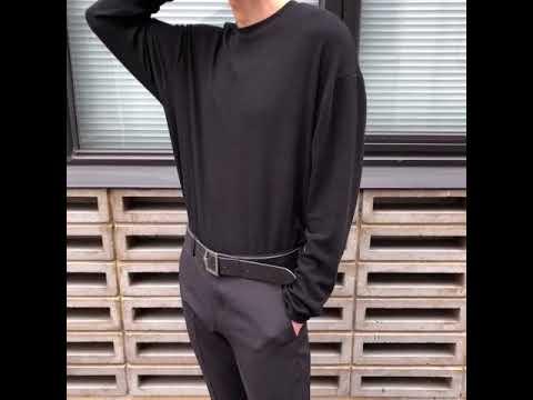 소프트 오버핏 긴팔 티셔츠-블랙
