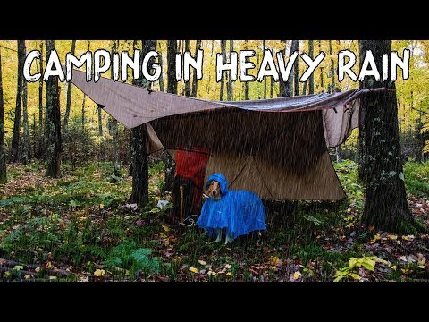 Camping in Heavy Rain Under a Tarp