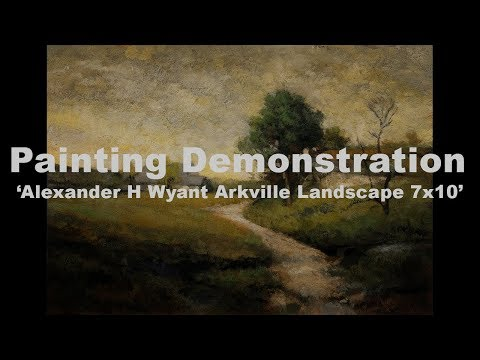 Study after: Alexander H Wyant Arkville Landscape 7×10 Tonalist Landscape Oil Painting BAK