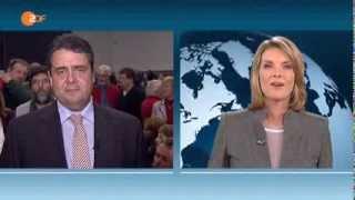 Sigmar Gabriel und Marietta Slomka streiten sich im ZDF