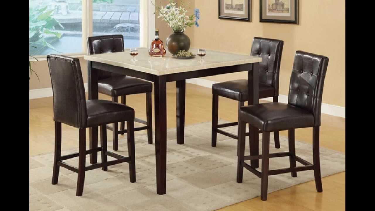5 Pc Square Cream Faux Marble Espresso Finish Wood Counter Height Dining  Table   YouTube