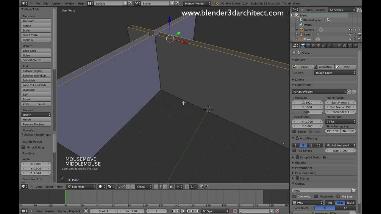 Blender Add-on for Architectural modeling: Edge Tools