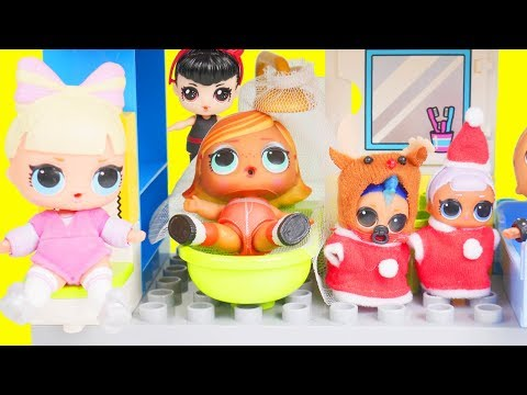 LOL Surprise Dolls Family Find Lils Fuzzy Pets in New Duplo House | Toy Egg Videos