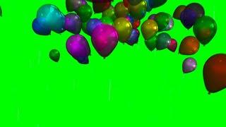 4K Green Screen Happy Birthday Balloons Flying Animation