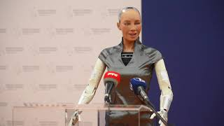Sophia the Robot on the second day of the Digital Summit Western Balkans