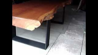 Solid Rosewood Diningtable Custom Made Reclaimed Wood Slab With Steel Legs