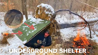 Solo Overnight Building an Underground Shelter and Fireplace In The Snow and Lil Smokies Bacon Chili