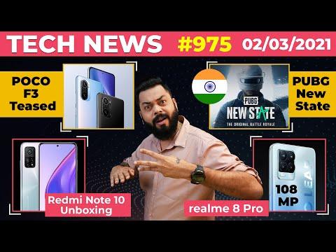 PUBG New State India Launch,Redmi Note 10 Unboxing😮,POCO F3 Teased,realme 8 Pro 108MP Camera-#TTN975