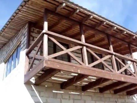Концепция балкона в частном доме: отделка деревом/balcony wo.