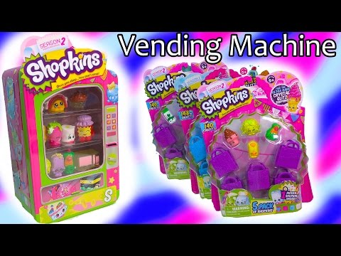15 Shopkins Season 2 Vending Machine 3 5 Packs Blind Bag Basket Review Opening Cookieswirlc
