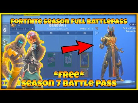 FORTNITE SEASON 7 FULL BATTLE PASS & SEASON 7 SKINS (FORTNITE SEASON 7 ALL UNLOCKS ON BATTLE PASS)