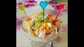 Лёгкий вкусный салат с крабовыми палочками за 5 минут!