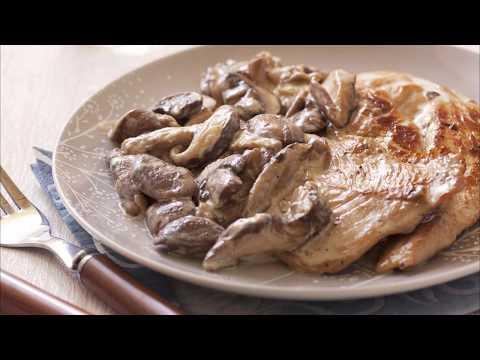 recette-:-escalope-de-dinde-à-la-crème-et-aux-champignons