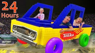 24 Hours in GIANT LEGO MONSTER TRUCK! Last to Leave Wins!!!