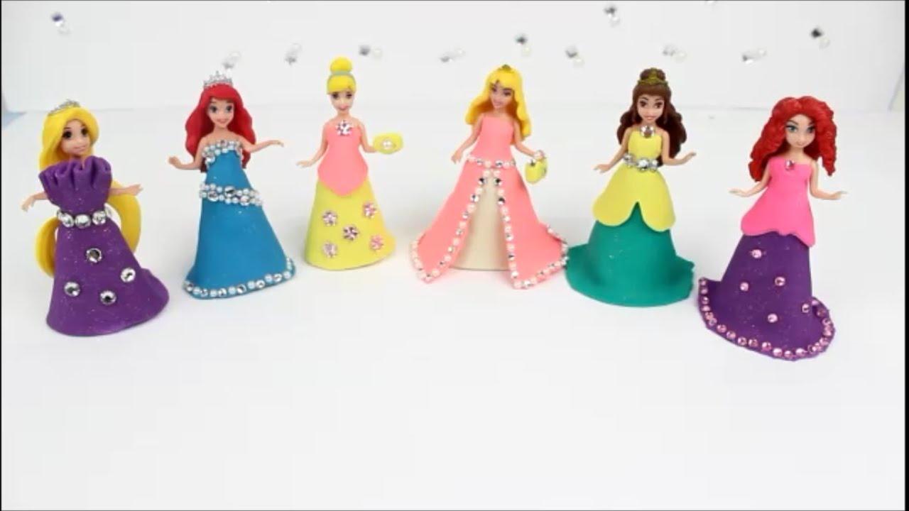 Pâte à modeler   Play Doh   6 Disney Princesses Magiclip dresses ...