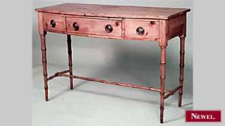 Antique English Country Stripped Pine 3 Drawer Console
