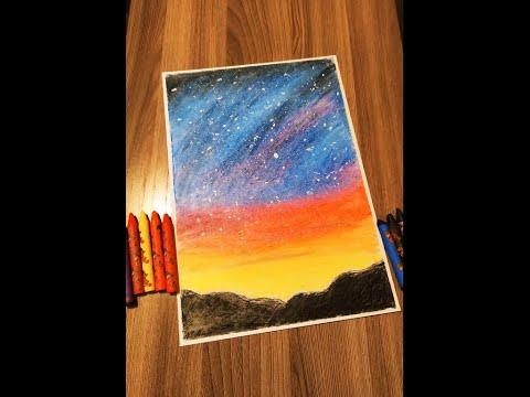 Рисуем звездное небо восковыми мелками. Draw The Starry Sky With Wax Crayons.