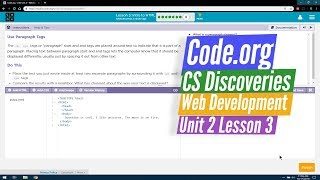 Intro to HTML - Web Development Lesson 3.8 - Code.org CS Discoveries