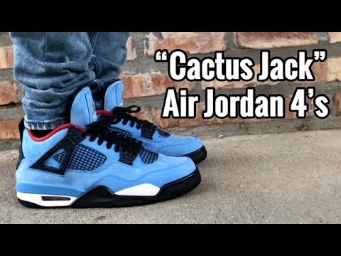"03a00b623b11 Air Jordan 4 x Travis Scott ""Cactus Jack"" on feet - YouTube"