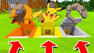 Minecraft PE : DO NOT CHOOSE THE WRONG SECRET BASE! (Tauros, Pikachu & Onix)