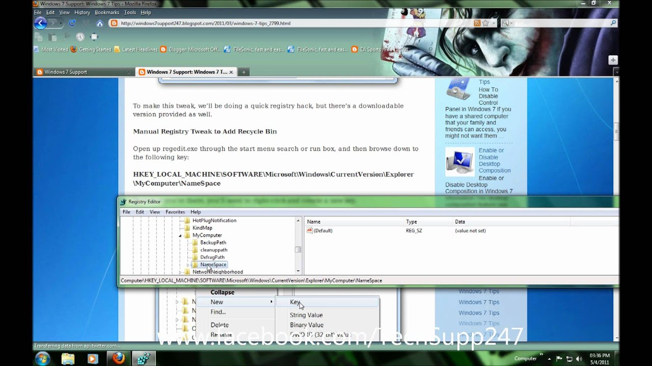 registry hacks Warning: the following hacks use registry editor which is a very powerful windows tool be careful when using it as misuse can render your system inoperable.