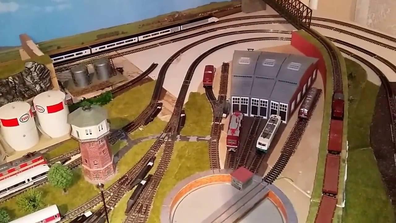 Spur N Modellbahn Anlage Eurostar Kato Entgleist