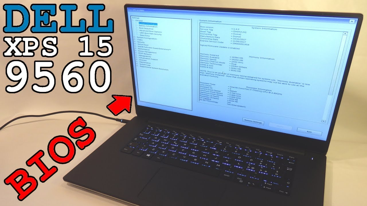 Dell XPS 15 CNX95603 • BIOS Access and Overview