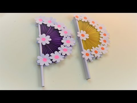 How to make paper Hand Fan with color paper – Origami paper hand fan tutorial steps by steps