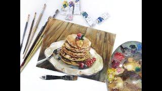Натюрморт маслом «Блинчики на завтрак».