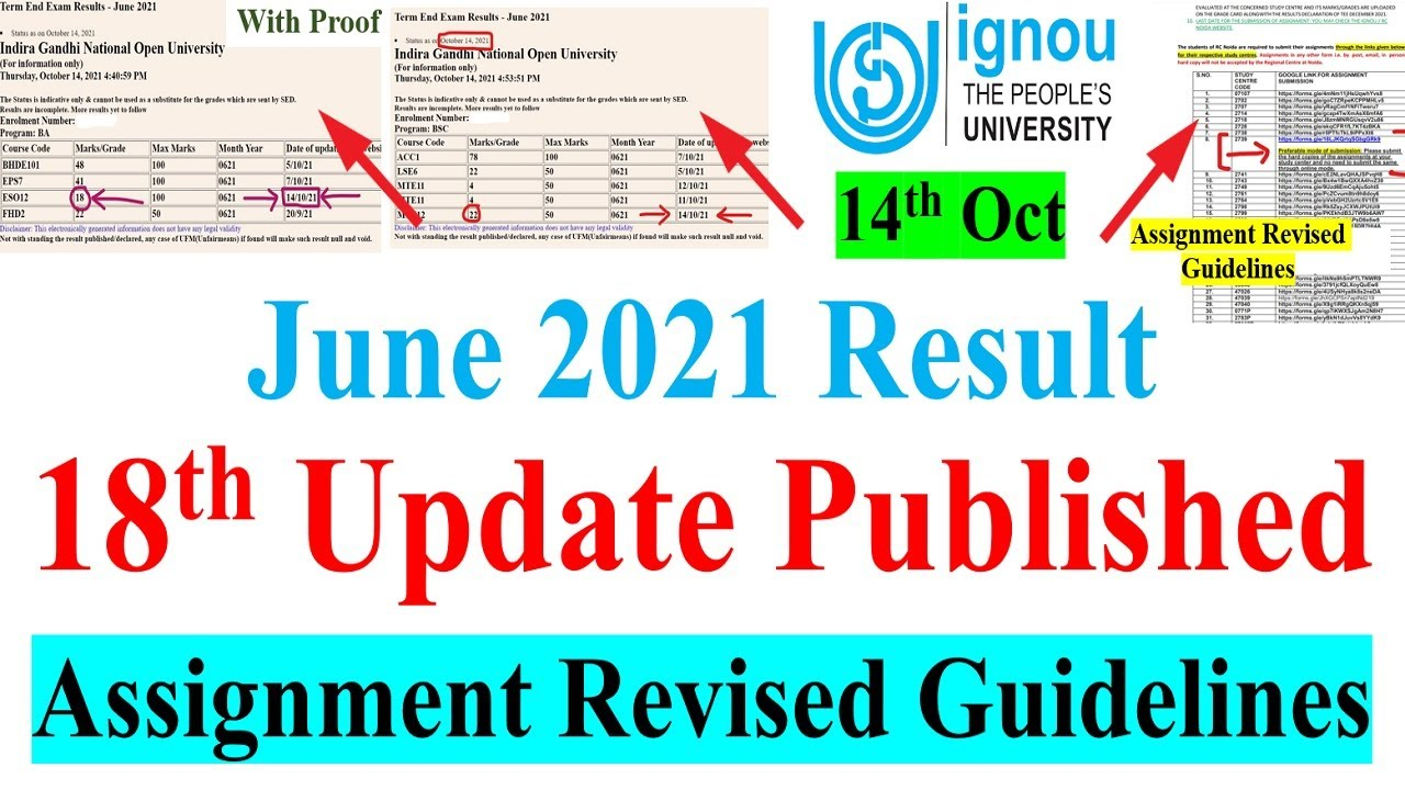 IGNOU JUNE 2021 Exam Result 18th Update Published    Assignment Submission Revised Guidelines