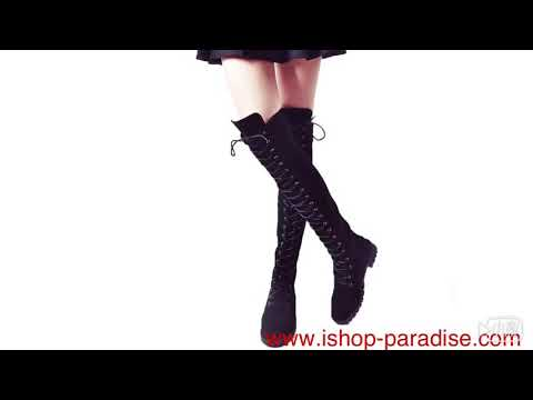 Long boots military women's booties lace up shoes sb131#