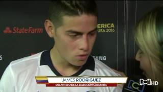 Broma de James Rodriguez con la periodista Andrea Guerrero