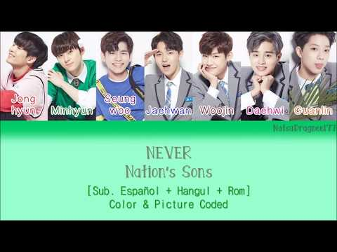 [Produce 101] Nation's Sons - NEVER [Sub. Español + Hangul + Rom] Color & Picture Coded